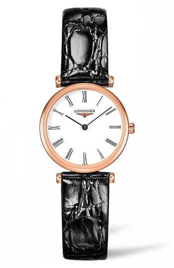 Women's Longines La Grande Classique De Longines Leather Strap Watch, 24Mm