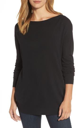 Women's Halogen Boatneck Tunic Sweater, Size X-Small - Black
