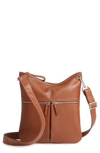 Longchamp 'Veau' Leather Crossbody Bag - Brown