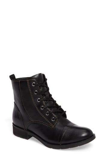 Sofft Belton Cap Toe Combat Boot, Black