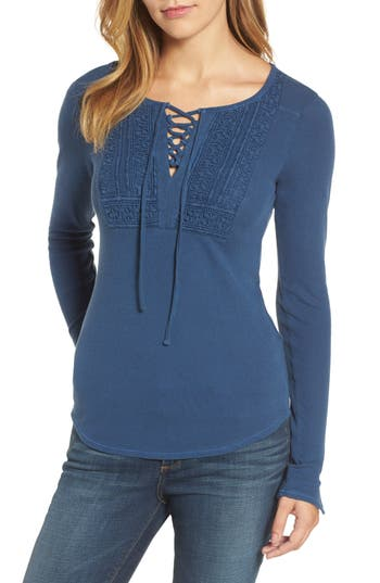Women's Lucky Brand Lace-Up Bib Thermal Top, Size Large - Blue