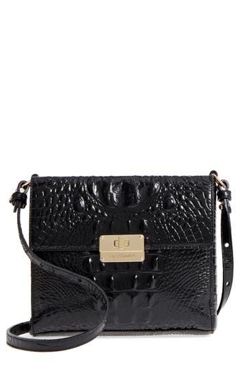 Brahmin Melbourne Manhattan Croc Embossed Leather Crossbody Bag - Black