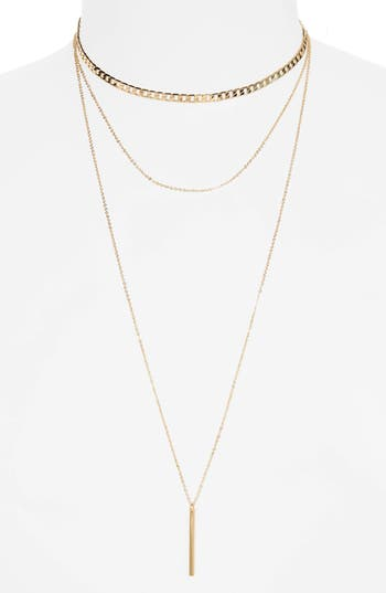 Women's Bp. Layered Bar Charm Necklace
