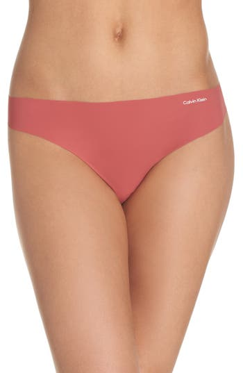 Women's Calvin Klein 'Invisibles' Thong, Size Small - Pink