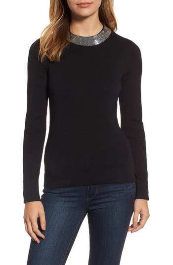 Women's Michael Michael Kors Sequin Collar Sweater, Size Large - Black