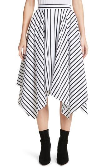 Women's Adam Lippes Stripe Cotton Asymmetrical Skirt