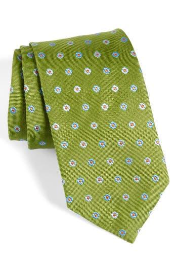 Men's David Donahue Neat Floral Medallion Silk Tie, Size Regular - Green