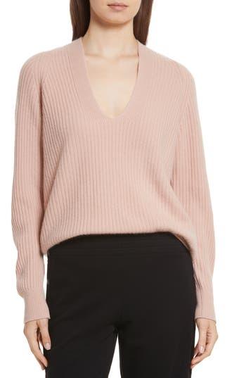 Vince Wool Blend Raglan V-Neck Sweater, Pink
