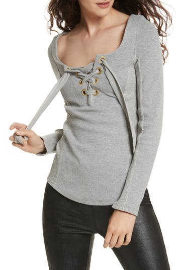 Free People Looking Back Lace-Up Top, Grey