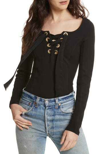 Free People Looking Back Lace-Up Top, Black