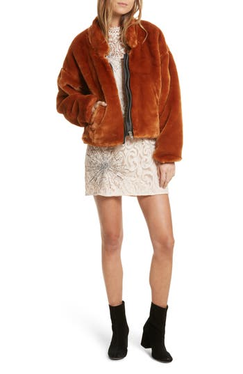 Women's Free People Faux Fur Bomber Jacket, Size X-Small - Red