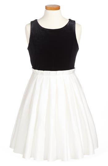 Girl's Zunie Velvet Pleated Dress