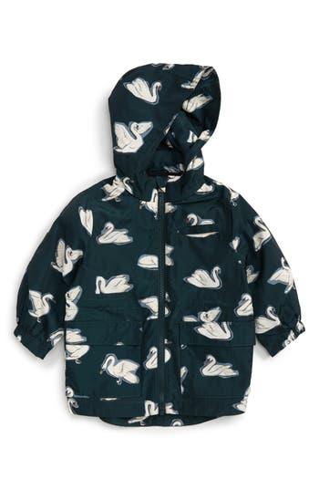 Infant Girl's Stella Mccartney Kids Beck Swan Print Waterproof Jacket With Removable Hood