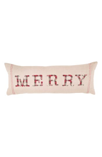 Mud Pie Merry Tartan Applique Accent Pillow, Size One Size - Beige