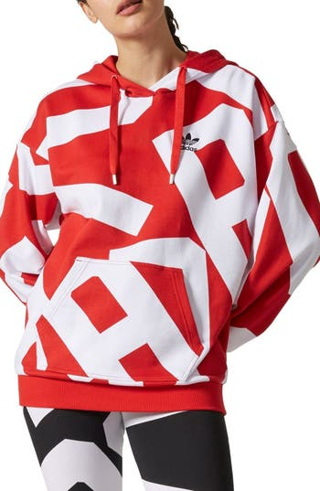 Women's Adidas Ba Graphic Hoodie, Size X-Small - Red