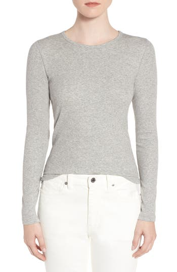 Women's Everlane The Pima Micro Rib Long Sleeve Crew, Size XX-Small - Grey