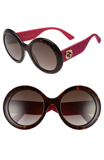 Women's Gucci 53Mm Round Sunglasses - Havana/ Brown