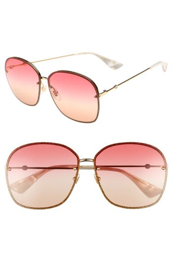 Women's Gucci 63Mm Oversize Square Sunglasses - Gold/ Red/ Yellow/ Nude