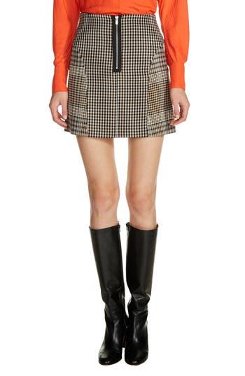 Women's Maje Plaid Panel Miniskirt, Size 36 - Black