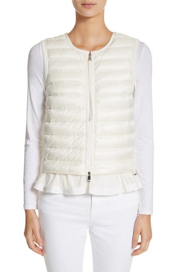 Moncler Quilted Peplum Vest, White