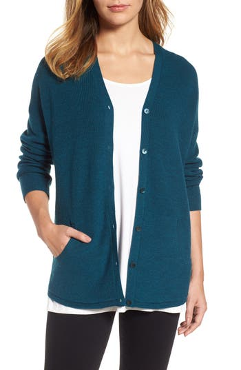 Women's Eileen Fisher V-Neck Merino Wool Cardigan, Size XX-Small - Blue