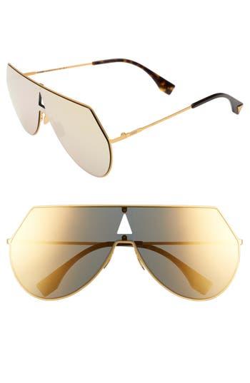 Women's Fendi 99Mm Eyeline Aviator Sunglasses - Yellow Gold
