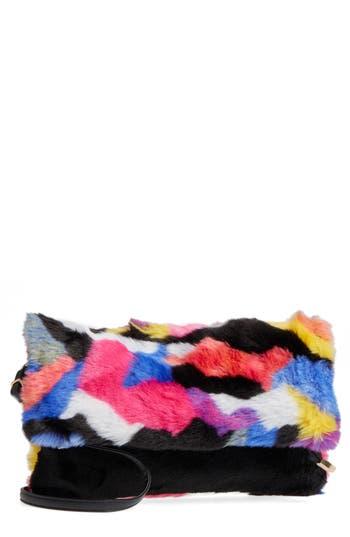 Natasha Faux Fur Foldover Clutch -