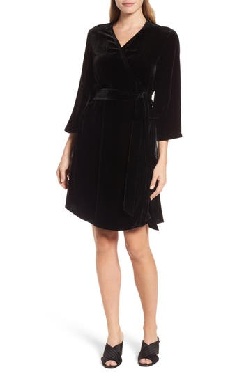 Women's Eileen Fisher Velvet Wrap Dress, Size XX-Small - Black