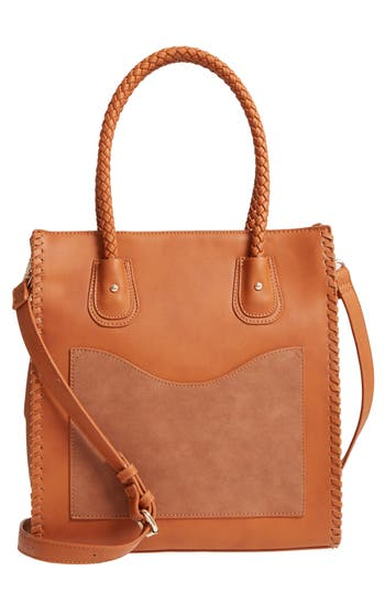 Emperia Whipstitch Faux Leather Tote - Brown