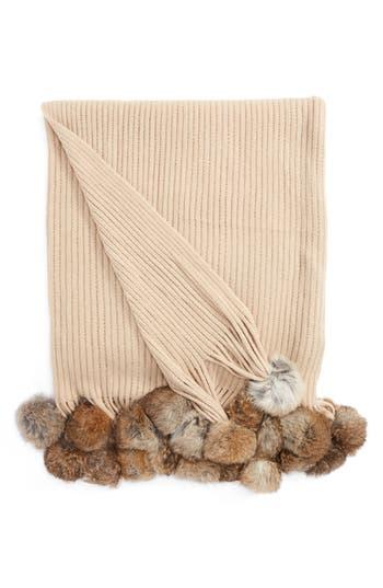 Echo Genuine Rabbit Fur Pompom Rib Knit Throw, Size One Size - Beige