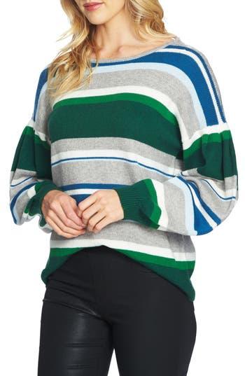 Women's Cece Stripe Balloon Sleeve Sweater, Size X-Small - Grey