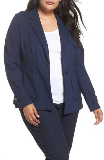 Plus Size Women's Michel Studio Fitted Utility Jacket