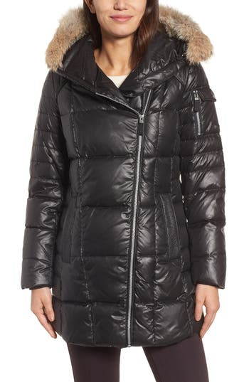 Andrew Marc Down & Feather Fill Coat With Genuine Coyote Fur, Black