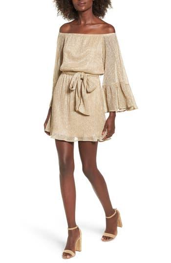 Women's Lush Metallic Flare Sleeve Off The Shoulder Dress