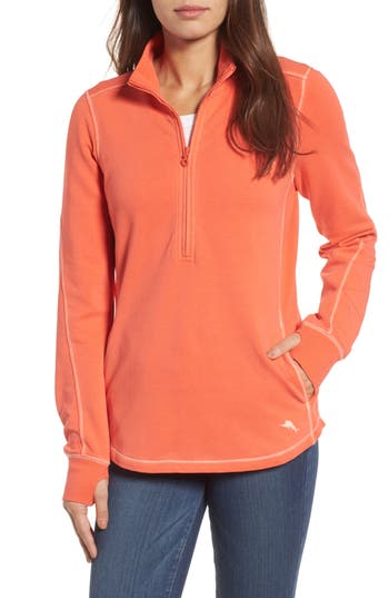 Women's Tommy Bahama Jen And Terry Half Zip Top, Size Small - Orange