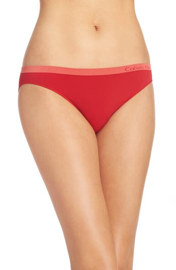 Women's Calvin Klein 'Pure' Seamless Bikini, Size Small - Red