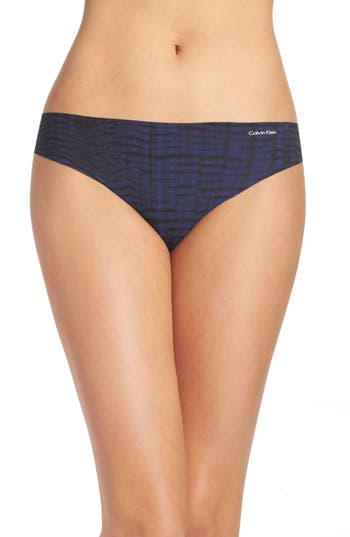 Women's Calvin Klein Invisibles Thong, Size Small - Blue