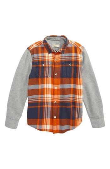 Boy's Tucker + Tate Woven Plaid Shirt, Size 4 - Orange