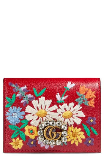 Women's Gucci Embroidered Floral Leather Wallet - Green