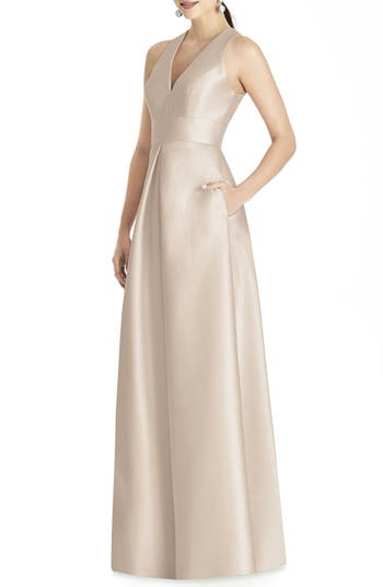 Alfred Sung Sleeveless Sateen Gown, Beige