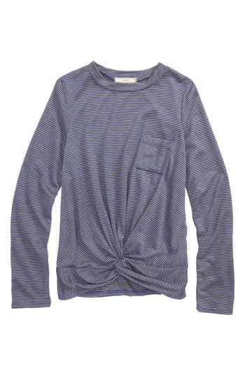 Girl's Soprano Knot Front Stripe Top, Size S (8-10) - Blue