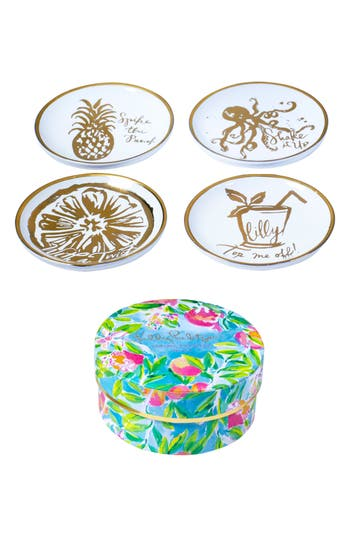 Lilly Pulitzer Set Of 4 Coasters, Size One Size - Metallic