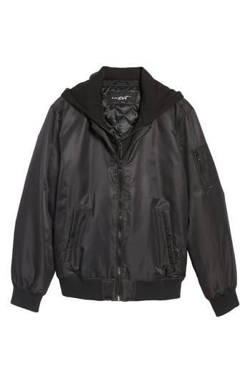 Men's Black Rivet Water Resistant Hooded Satin Flight Jacket