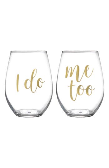 Slant Collections I Do Set Of 2 Stemless Wine Glasses, Size One Size - White