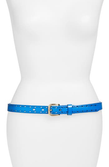 Elise M. Trevor Perforated Leather Hip Belt, Blue