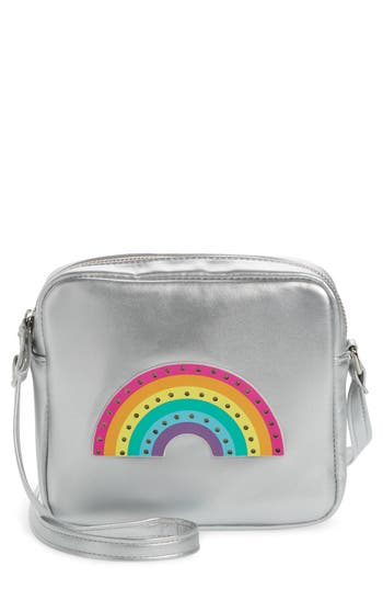 Girl's Capelli Led Light-Up Rainbow Faux Leather Crossbody Bag - Metallic