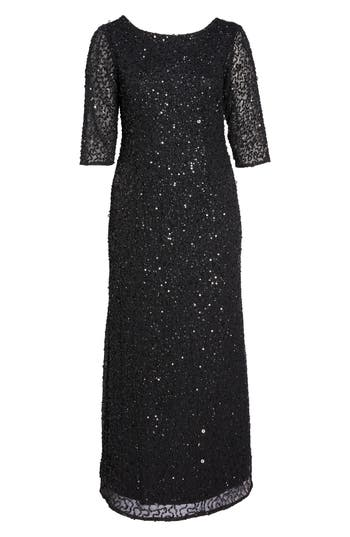 1930s Art Deco Plus Size Dresses | Tea Dresses, Party Dresses Plus Size Womens Adrianna Papell Embellished Scoop Back Gown Size 20W - Black $369.00 AT vintagedancer.com