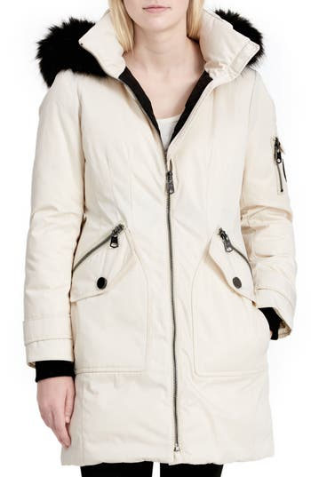Women's Calvien Klein Hooded Down Parka With Removable Faux Fur Collar, Size X-Small - White
