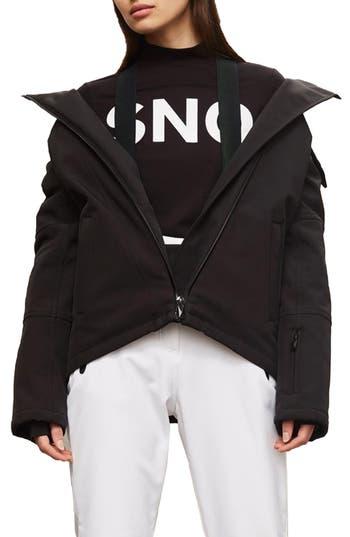 Women's Topshop Sno Gladiator Faux Fur Hood Puffer Jacket, Size 2 US (fits like 0) - Black