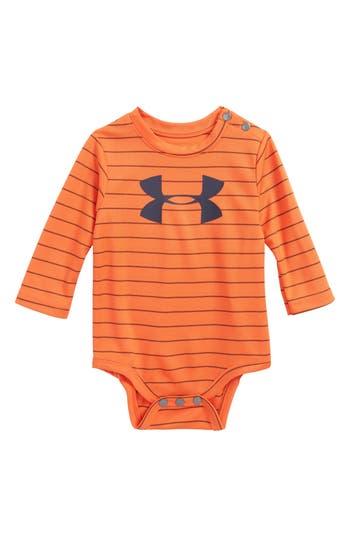 Infant Boy's Under Armour Big Logo Stripe Bodysuit, Size 9-12M - Green